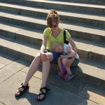 Ellen was not inspired by the Rocky steps, just exhausted.