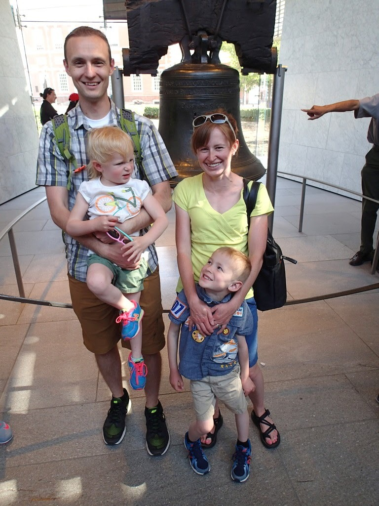 Our lovely family picture in front of the Liberty Bell.