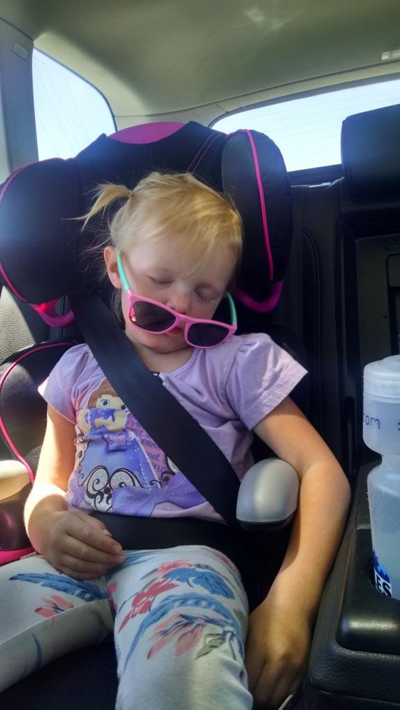 How Ellen sleeps in a car.