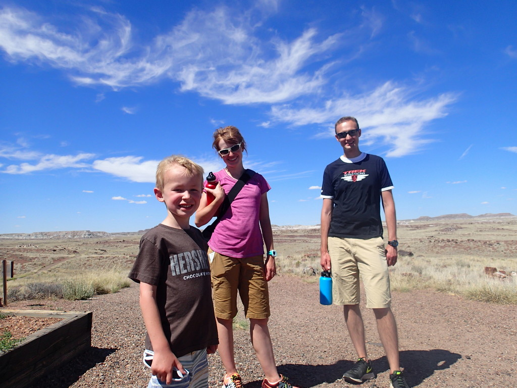 Picture Ellen took of us at Agate House at Petrified Forest National Park.