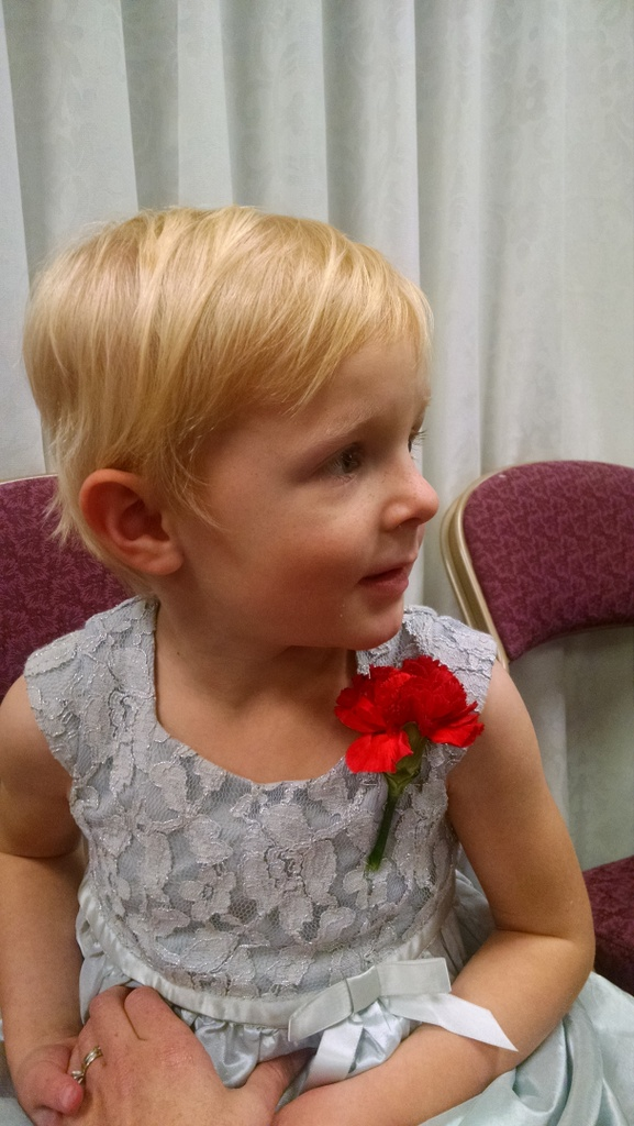 Ellen was sad she didn't get a boutonniere, but Great Uncle David improvised and made her this.