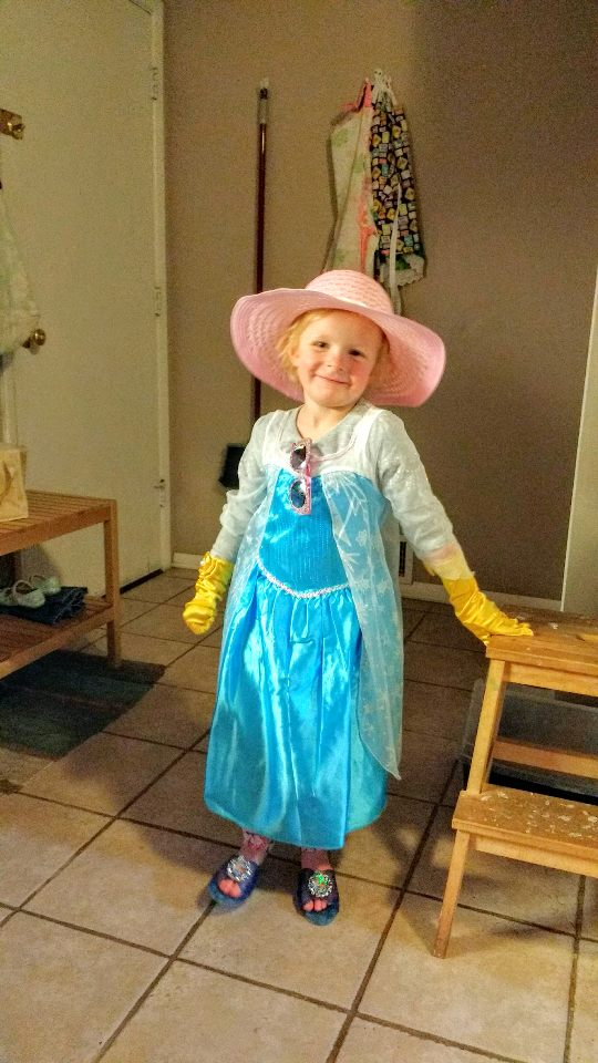 All dressed up as a little bit of every princess.