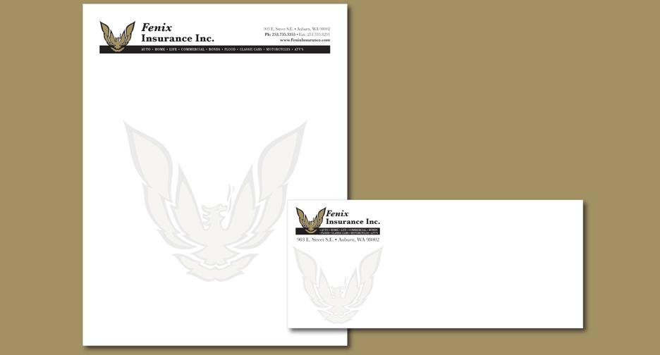 Fenix Insurance Letterhead and Envelope Design \u2013 Audrey Chandler
