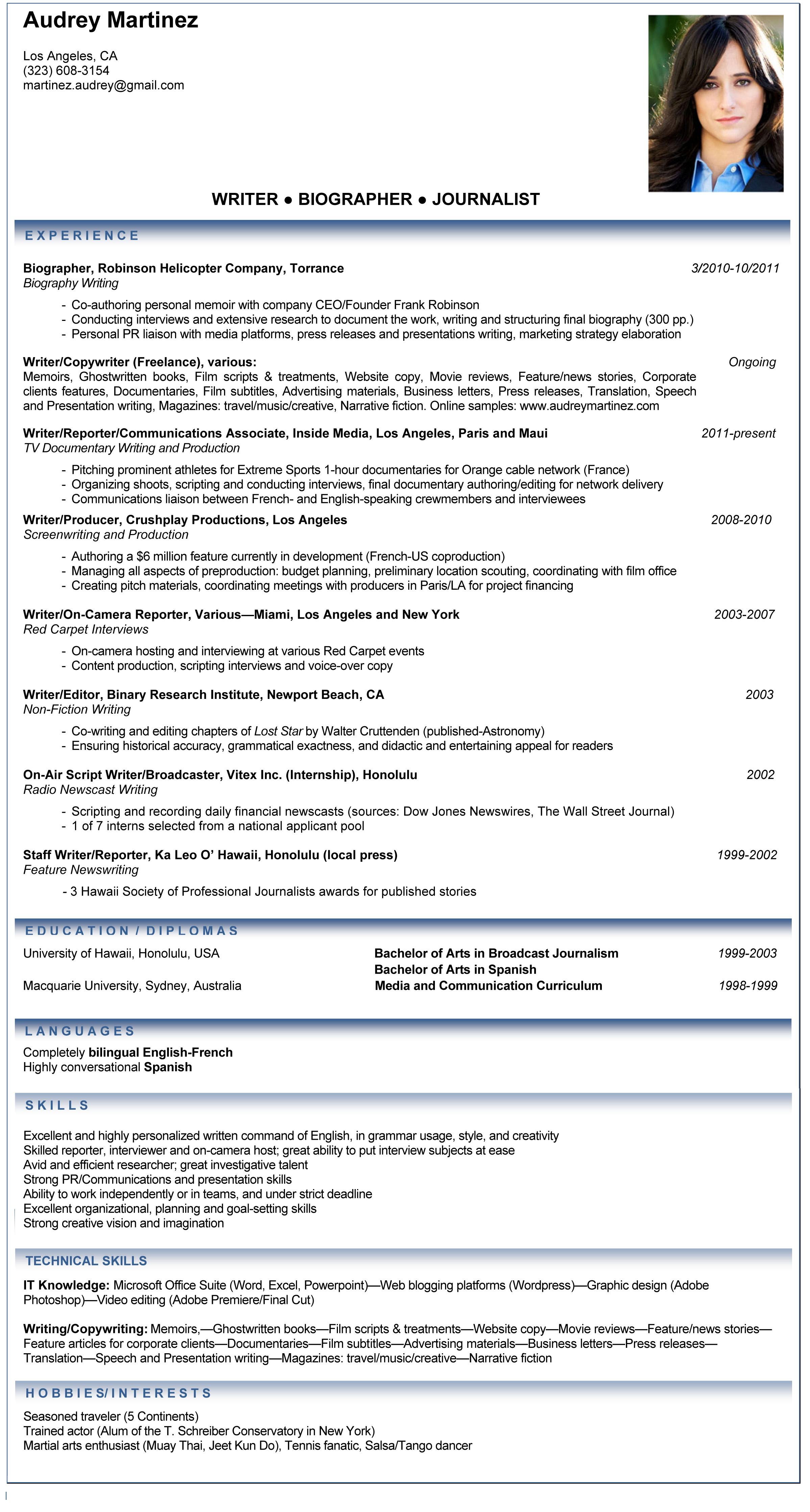 resume samples journalist professional resume cover letter sample resume samples journalist professionals resume cv samples professional resumecv audrey martinez