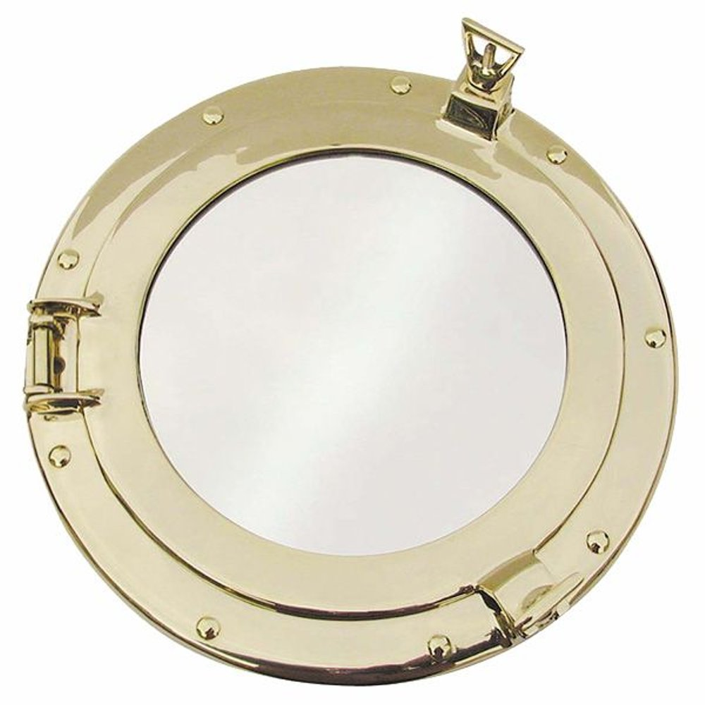 Spiegel Bullauge G4351 Porthole Mirror Porthole With Mirror Polished Brass Ø 28 Cm