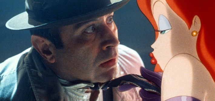 Bob Hoskins is seduced by Jessica Rabbit in a scene from the film 'Who Framed Roger Rabbit', 1988. (Photo by Buena Vista/Getty Images)