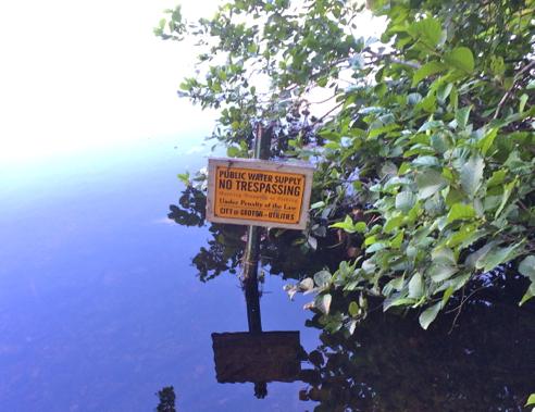 sign on buddington pond
