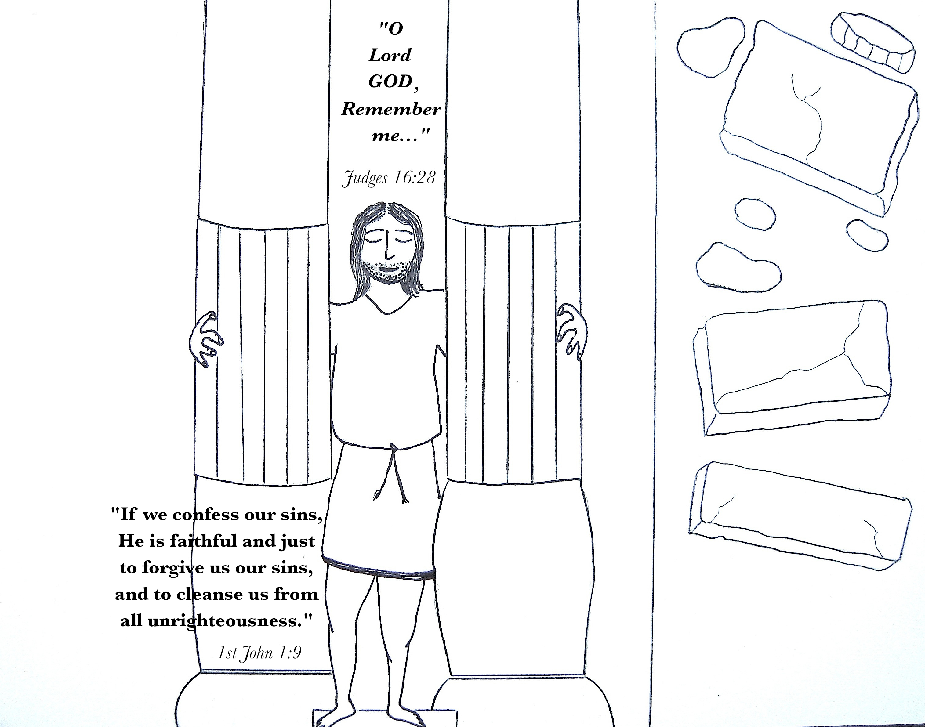 Samson Bible Story Coloring Pages - Costumepartyrun