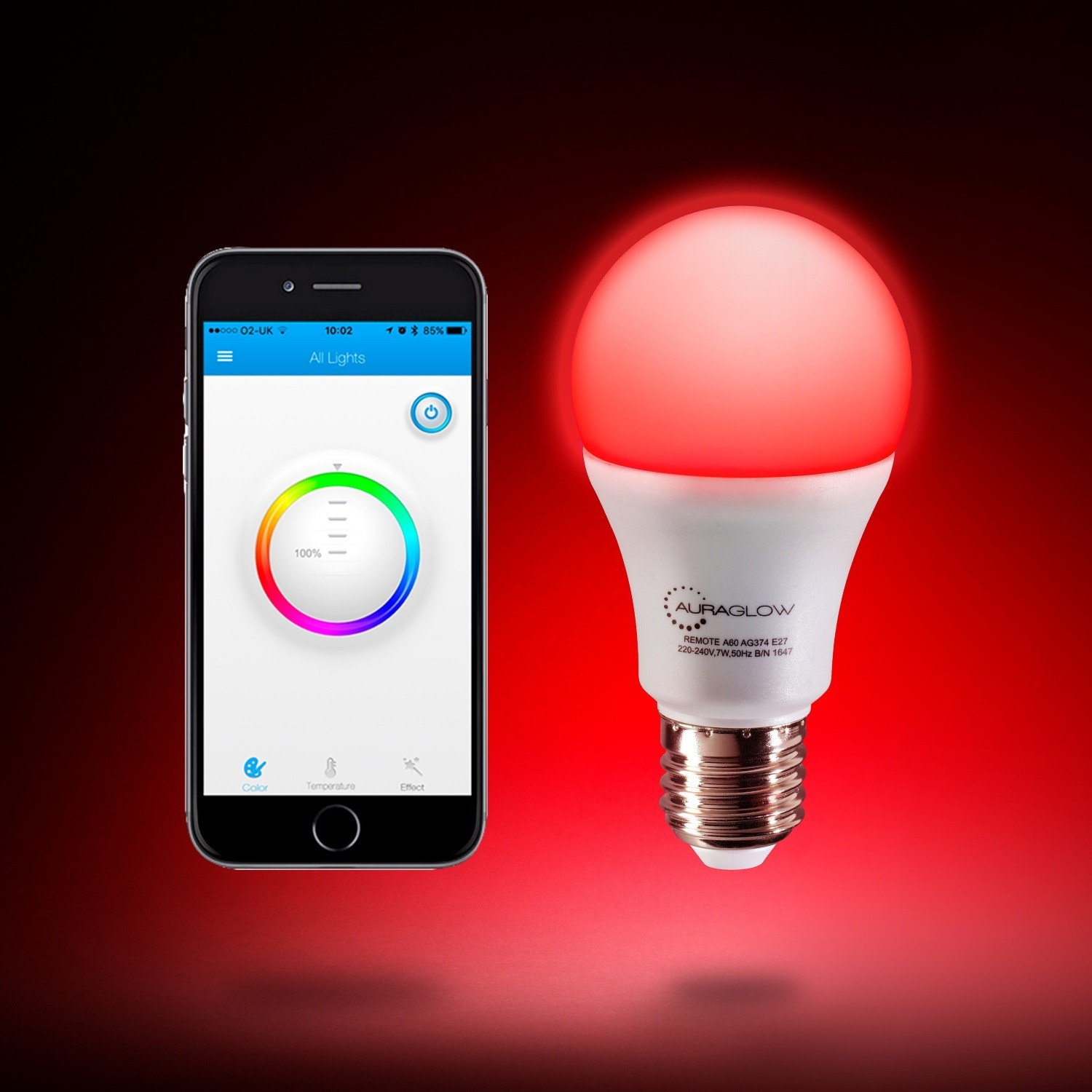 Smart Led Bulb Auraglow 9w Bluetooth Colour Changing Led Smart Light Bulb E27
