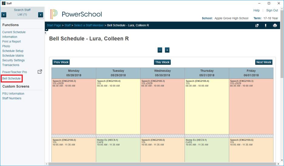 Teacher Bell Schedule View