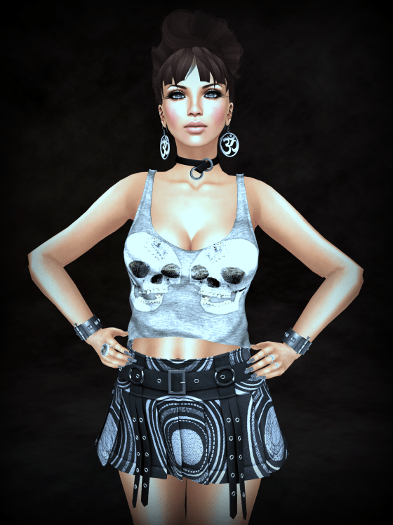 Hair, Skin, collar, cuffs, tank, skirt, nail polish, sandals, rings, Hestia #7hs_cropped