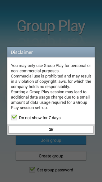 When you start Group Play you're warned not to use it commercially. And you can only get rid of the warning for a week.