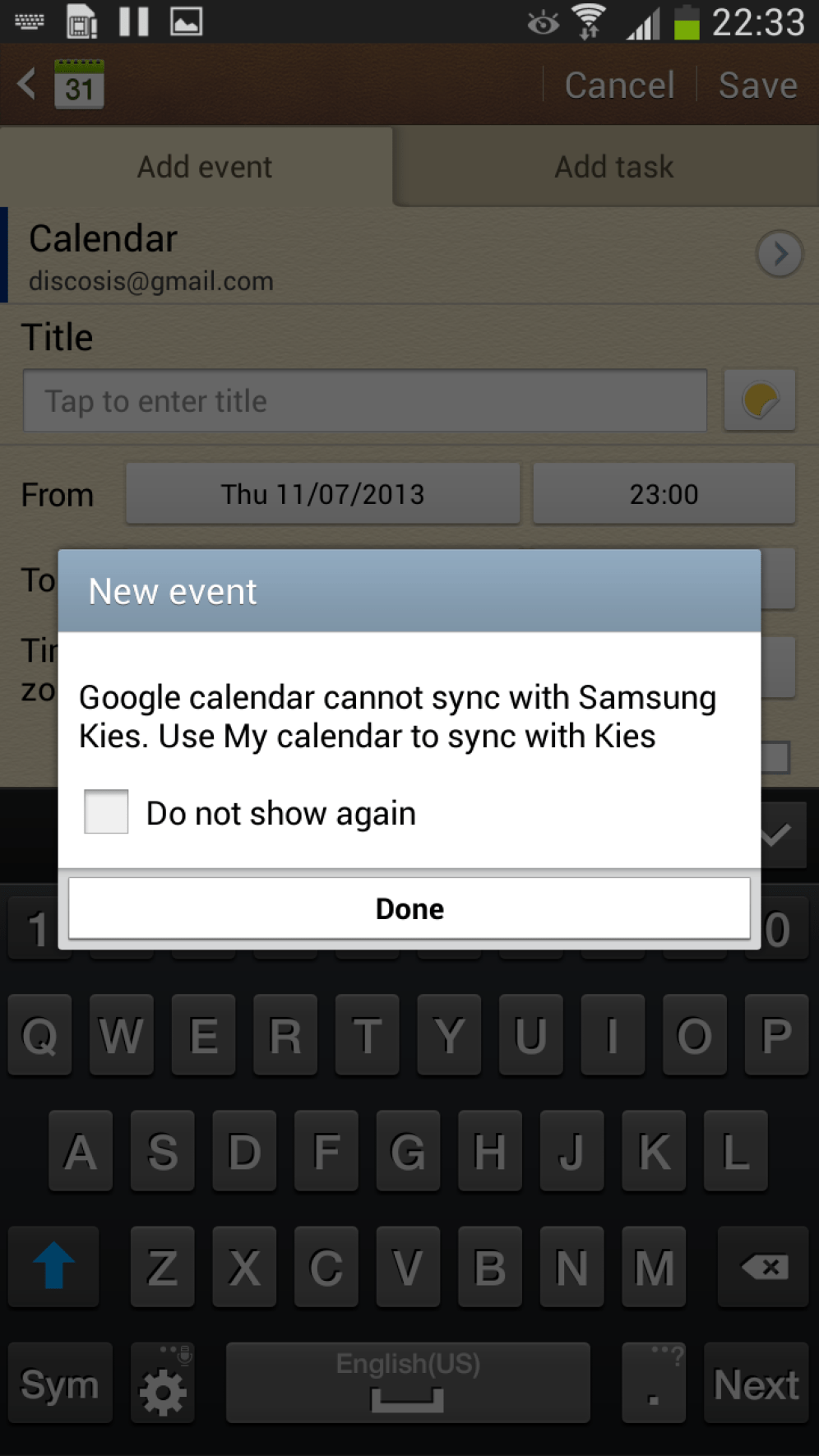 I tried to create a new calendar event and this dialog came up. I actually have no idea what any of it means.