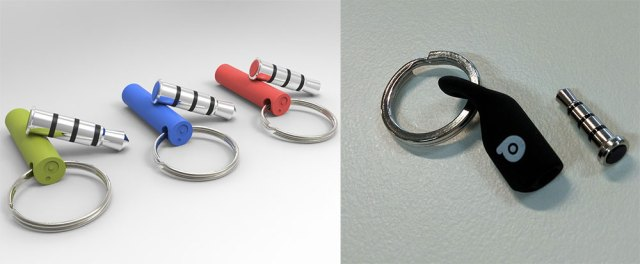 Left: Pressy's original concept keychain holder. Right: The finished product. (You can also see how Pressy itself changed from concept to finished product)