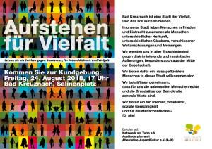 Demo für Vielfalt Freitag 24. August 17 Uhr am Salinenplatz