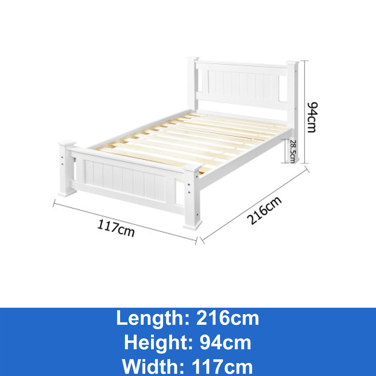Timber King Single Bed Frame New Wooden King Single Bed Frame White Timber Slats Pine Wood