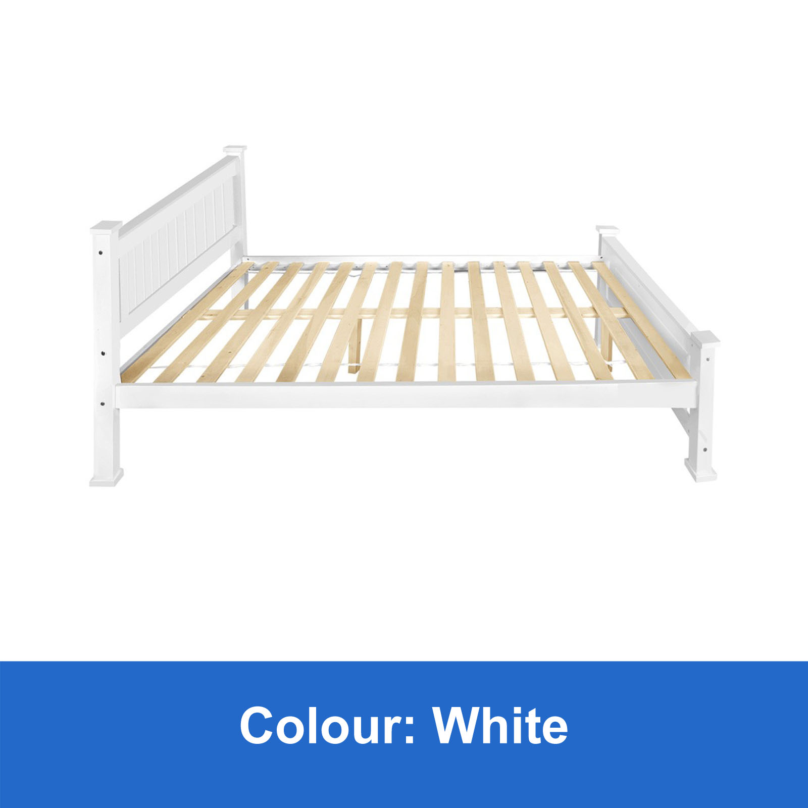 White Wooden Small Double Bed New Wooden Bed Frame Double White Solid Pine Wood Timber