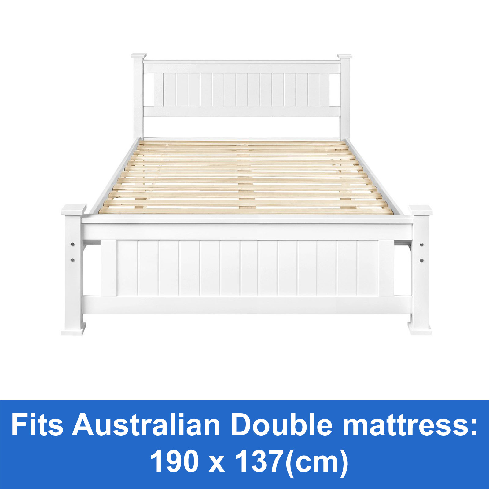 White Wooden Small Double Bed New Wooden Bed Frame Double White Solid Pine Wood Timber Slats