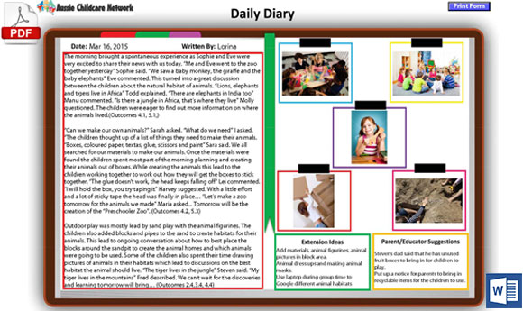 Newly Designed Daily Diary Template - Aussie Childcare Network