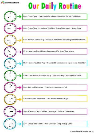 Daily Room Routine Template - Aussie Childcare Network - daily routine template