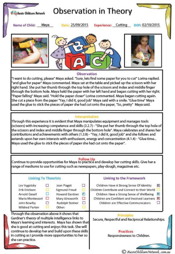 child observation examples in child care