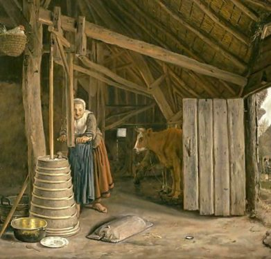 Barn-Interior-With-A-Maid-Churning-Butter