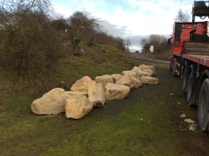 Way marker stones arrive thanks to Sibelco.