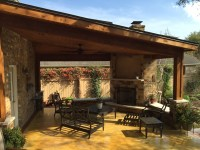 Outdoor fire place | Austin Decks, Pergolas, Covered ...