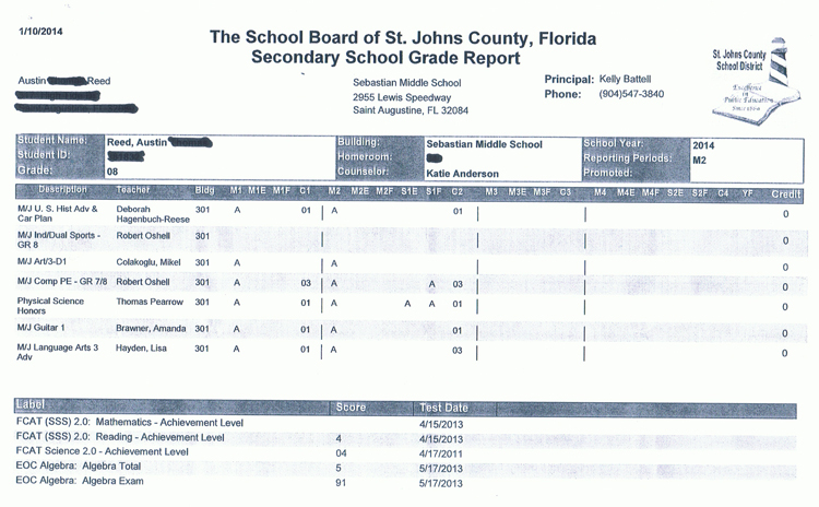 Austin Reed acheives a perfect report card for the second quarter of