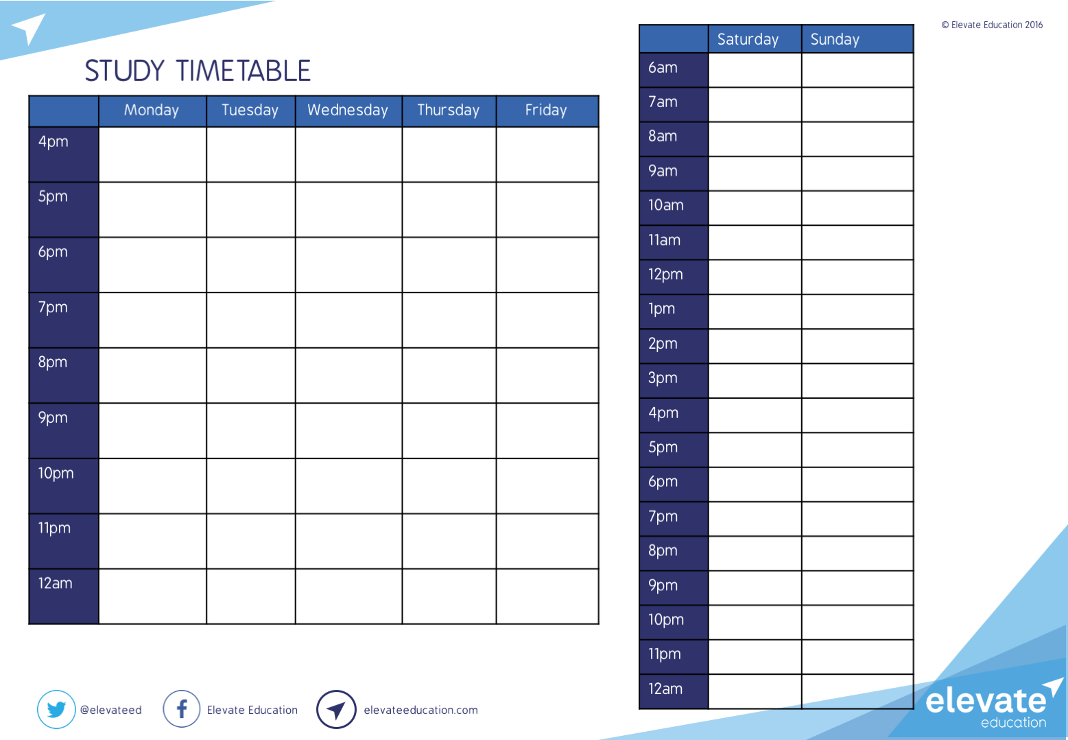 Study Timetable Elevate Education