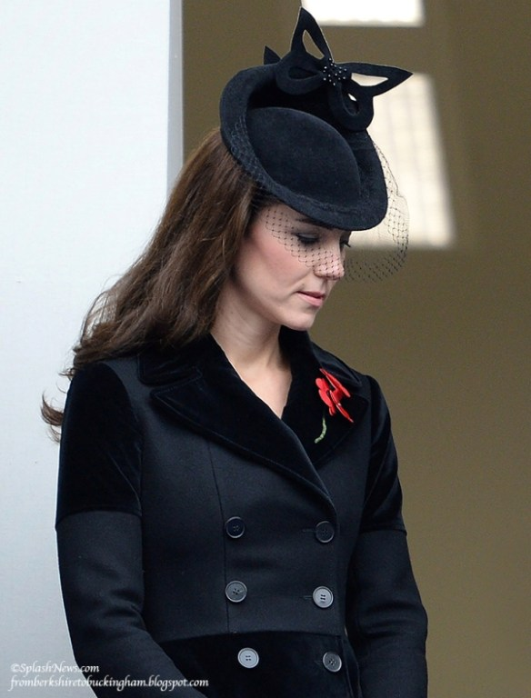 Catherine with members of the Royal Family attending the Remembrance Sunday Service at the Cenotaph, in London, on November 8, 2015. Source: James Whatling / Splash News.