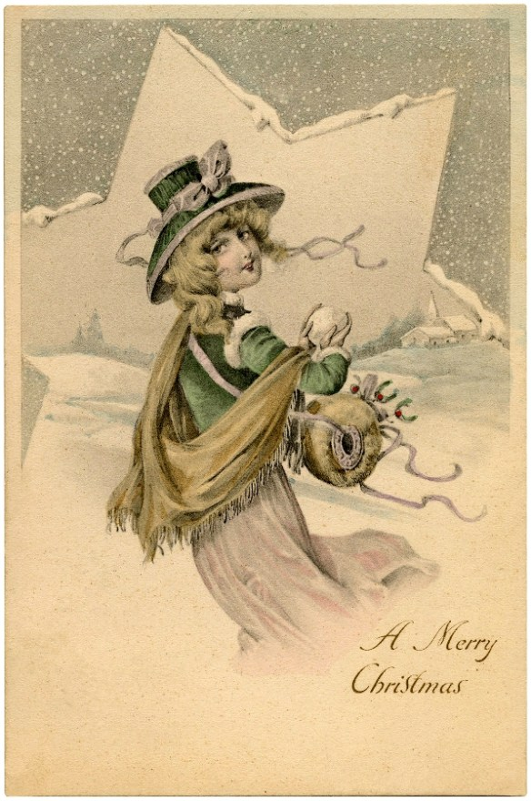 Christmas Victorian Lady Star / Source TheGraphic'sFairy.com / Click for Full Size Image