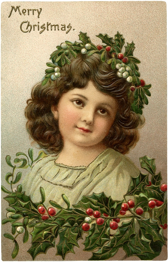 Victorian Girl Christmas Holly / Source The Graphic's Fairy.com / Click Image for Full Size