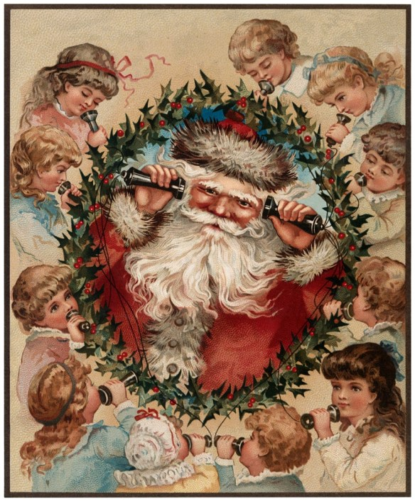 Santa with Victorian Children / Source The Graphic's Fairy.com / Click Image for Full Size
