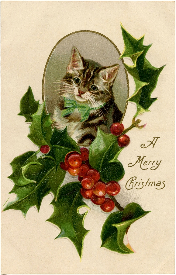 Victorian Cat with Holly / Source The Graphic's Fairy.com / Click Image for Full Size