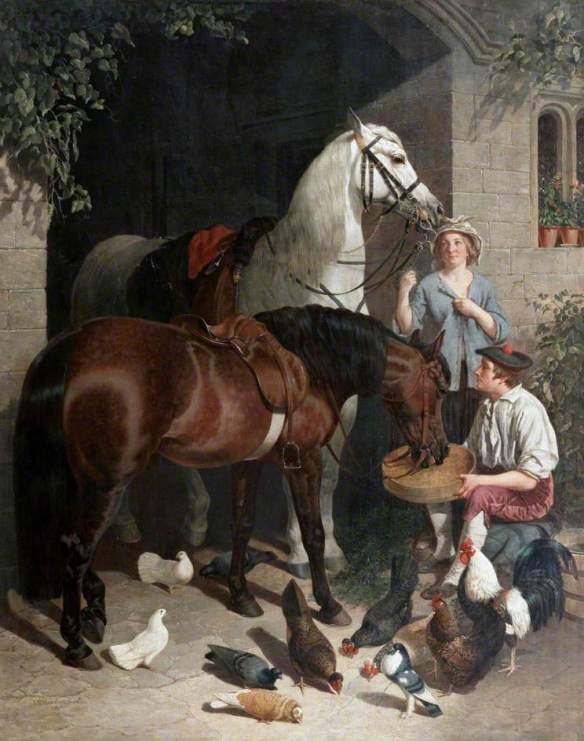 """Feeding the Horses"" circa 1858, by John Frederick Herring, Sr. (English, 1795–1865). Source / www.the-athenaeum.org"