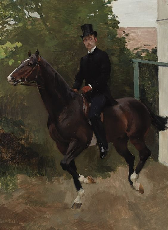 Portrait of H. de la Rochefoucauld on Horseback circa 1885, by Charles Giron (Swiss, 1850–1914). / Source: Pinterest
