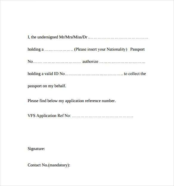 Free Template Authorization Letter To Collect Passport