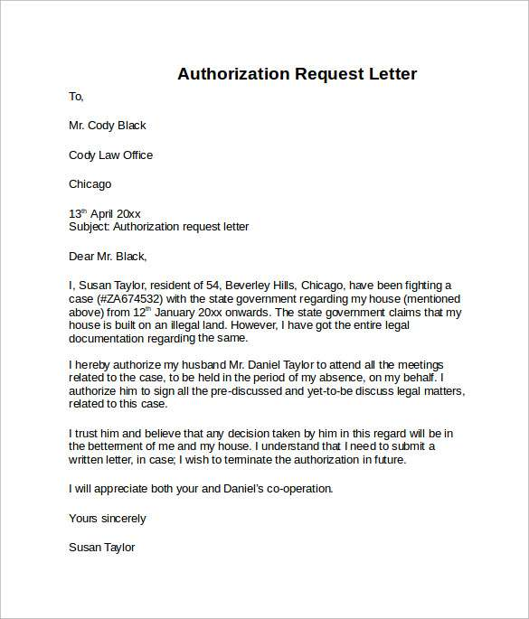 Sample of Authorization Letter Credit Card Free Download