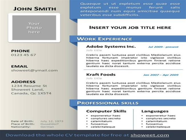 professional resume template ppt free professional business office powerpoint template curriculum vitae resume powerpoint template authorstream