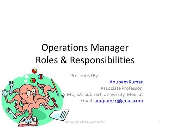 Role  Responsibilities of Operations ManagerauthorSTREAM - it operation manager job description