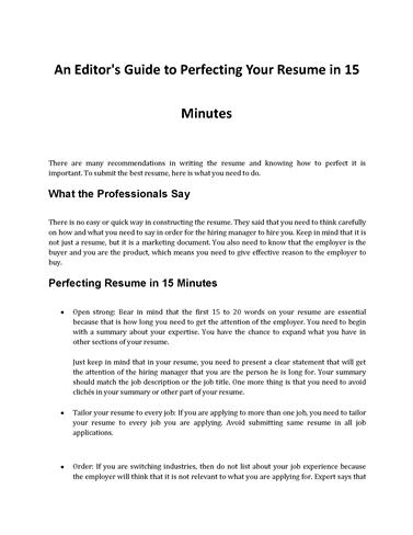 How to Perfect Your Resume in 15 MinutesauthorSTREAM