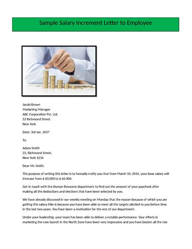 Salary Increment Letter Format for EmployeeauthorSTREAM - increment letter sample