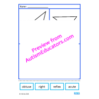 Types of Angles Cut and Paste Worksheets, Geometry, Math