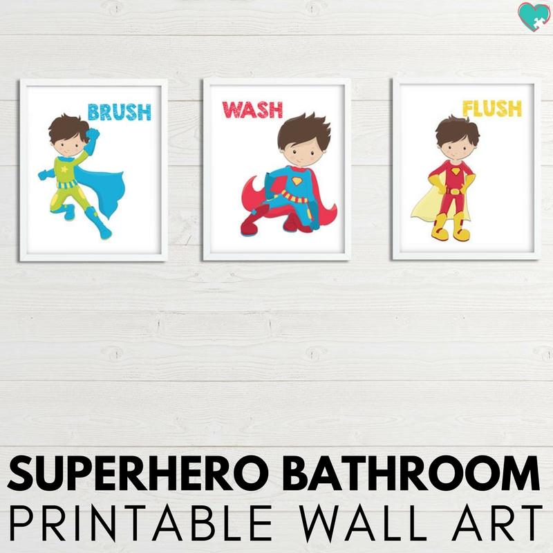 Superhero Printable Bathroom Wall Art for Kids - Autistic Mama