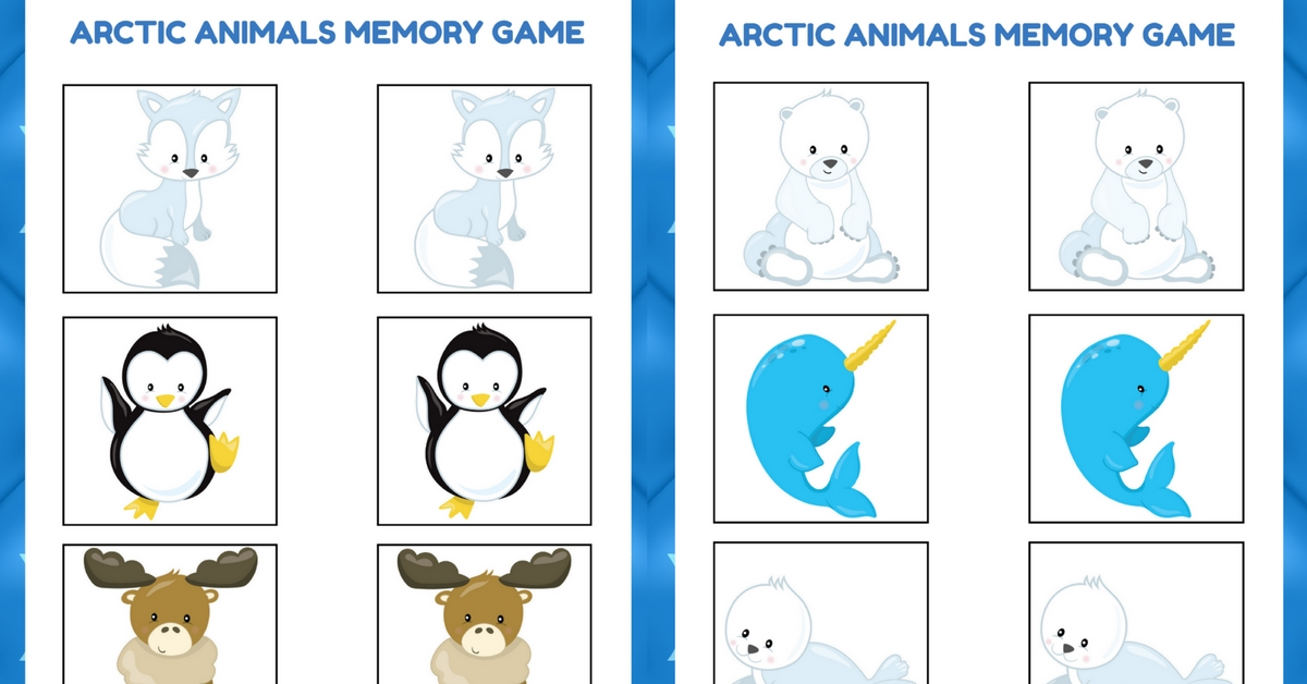 Arctic Animals Memory Game Free Preschool Printable for Arctic