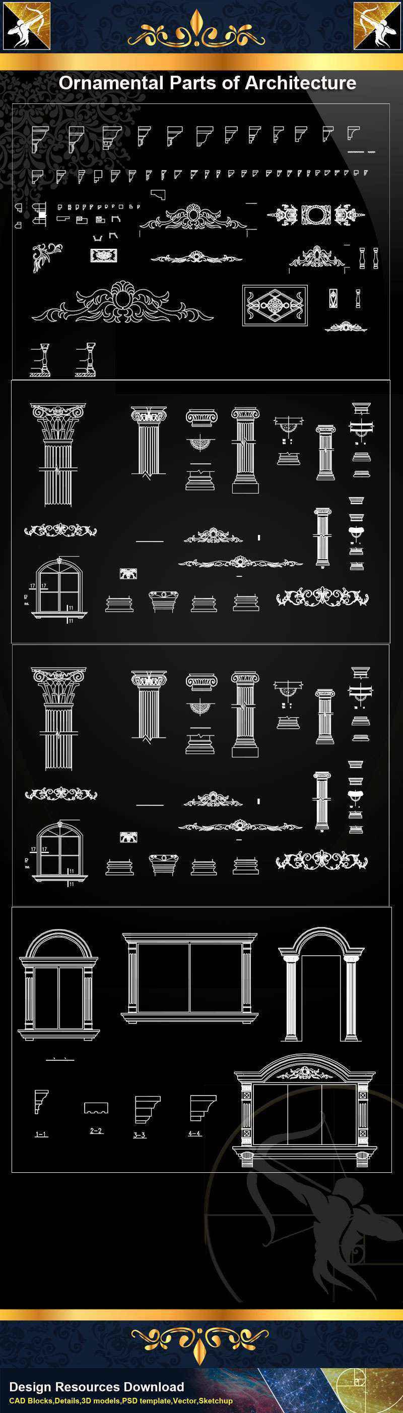 Autocad Blocks Ornamental Parts Of Architecture Decoration Element Cad Blocks V 8 Autocad Decoration Blocks Drawings Cad Details Elevation