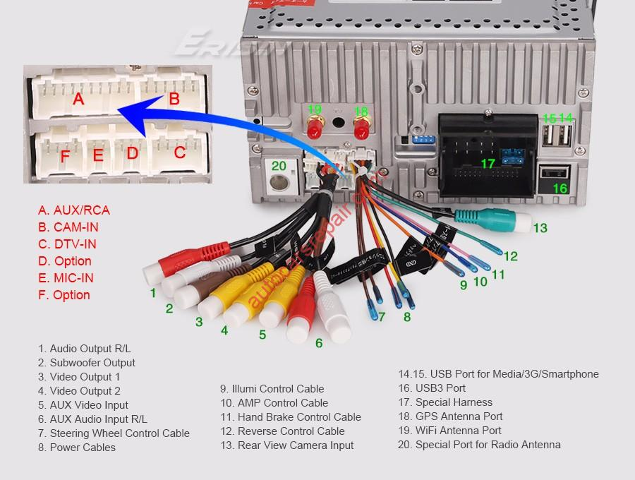 How to connect multimedia to the rear view camera, wiring diagram