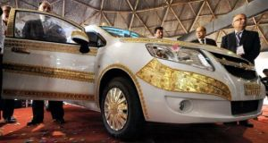 Gilded Chevrolet car at Gujarat Global Trade Fair 2013