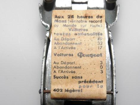 étiquette avec le résultat des 24 heures du Mans 1937